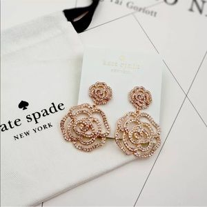 Kate spade crystal drop rose gold earrings